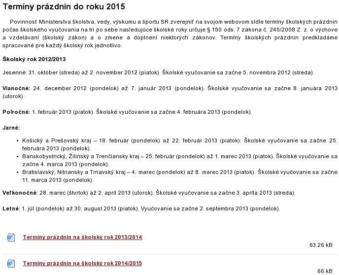 snímka stránky MŠVVŠ SR o prázdninách 2012-2015