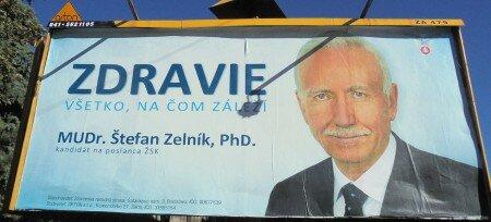 předvolební billboard MUDr. Štefana Zelníka PhD.